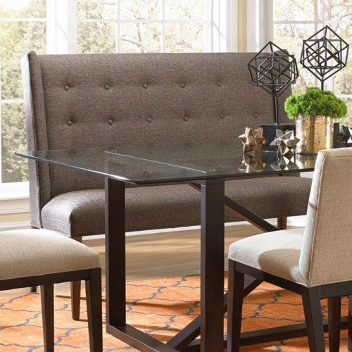 BeModern Dining Items Upholstered Dining Settee With Tufted Wing Back Belfo