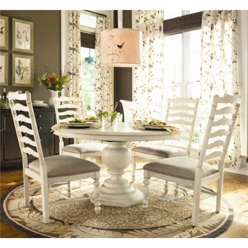 universal home round dining table w 4 ladder side chairs