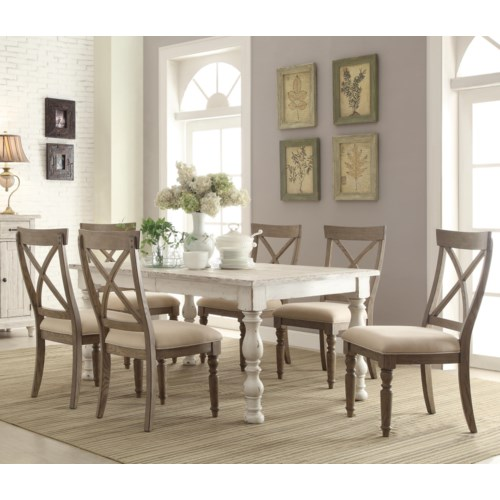 Riverside furniture aberdeen 7 piece farmhouse dining set for Riverside dining room sets