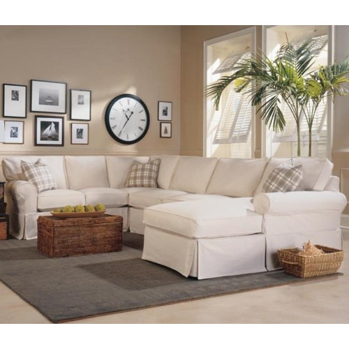 Slipcover Furniture Living Room: Rowe Masquerade 3-Piece Slipcover Sectional With Chaise