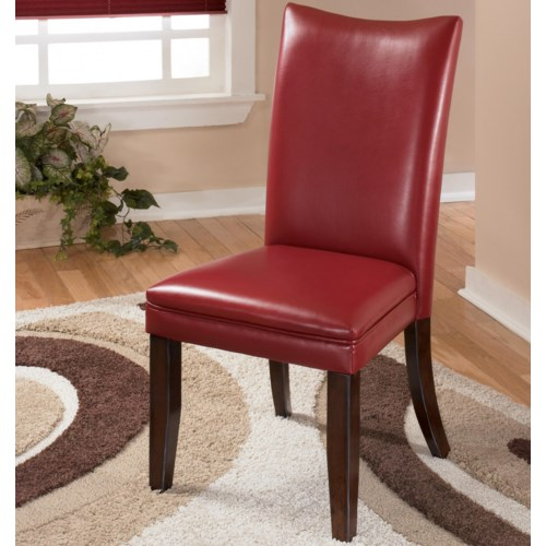 Signature design by ashley charrell red upholstered dining for Red chair design jackson wy
