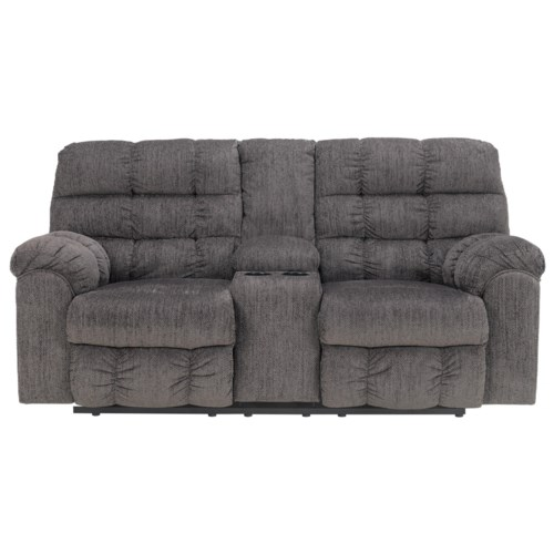 Signature Design By Ashley Acieona Slate Double Reclining Loveseat With Console And Cup