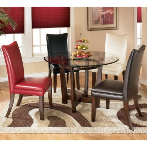 Charrell 5 piece round dining table set for Different color chairs