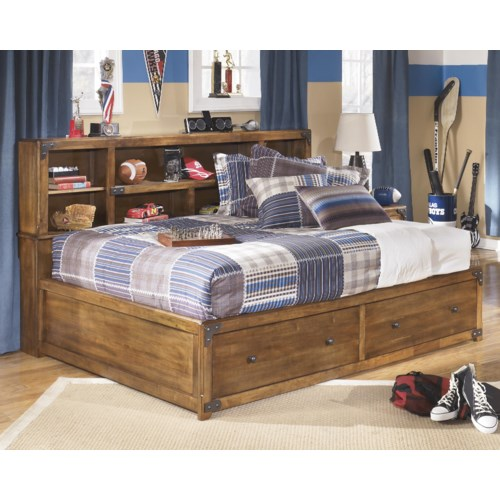 Signature Design By Ashley Delburne Full Bookcase Bed With Footboard Storage Pilgrim Furniture