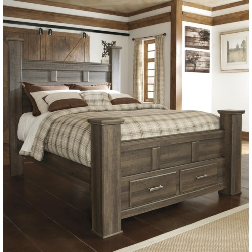 Signature Design By Ashley Juararo Queen Poster Storage Bed Del Sol Furniture Poster Bed