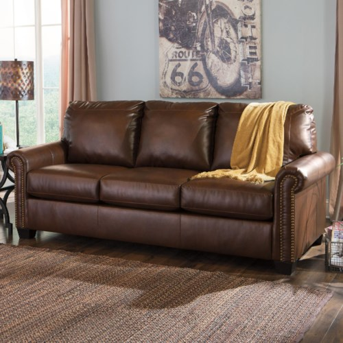 Signature Design By Ashley Lottie Durablend Transitional Bonded Leather Match 80 Queen Sofa