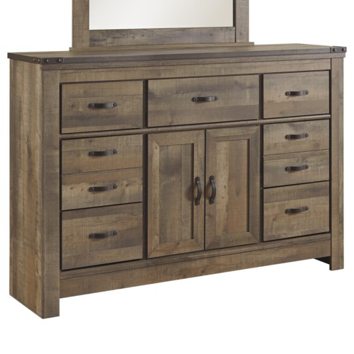 Signature Design By Ashley Trinell Rustic Look Dresser With Doors Top Metal Banding