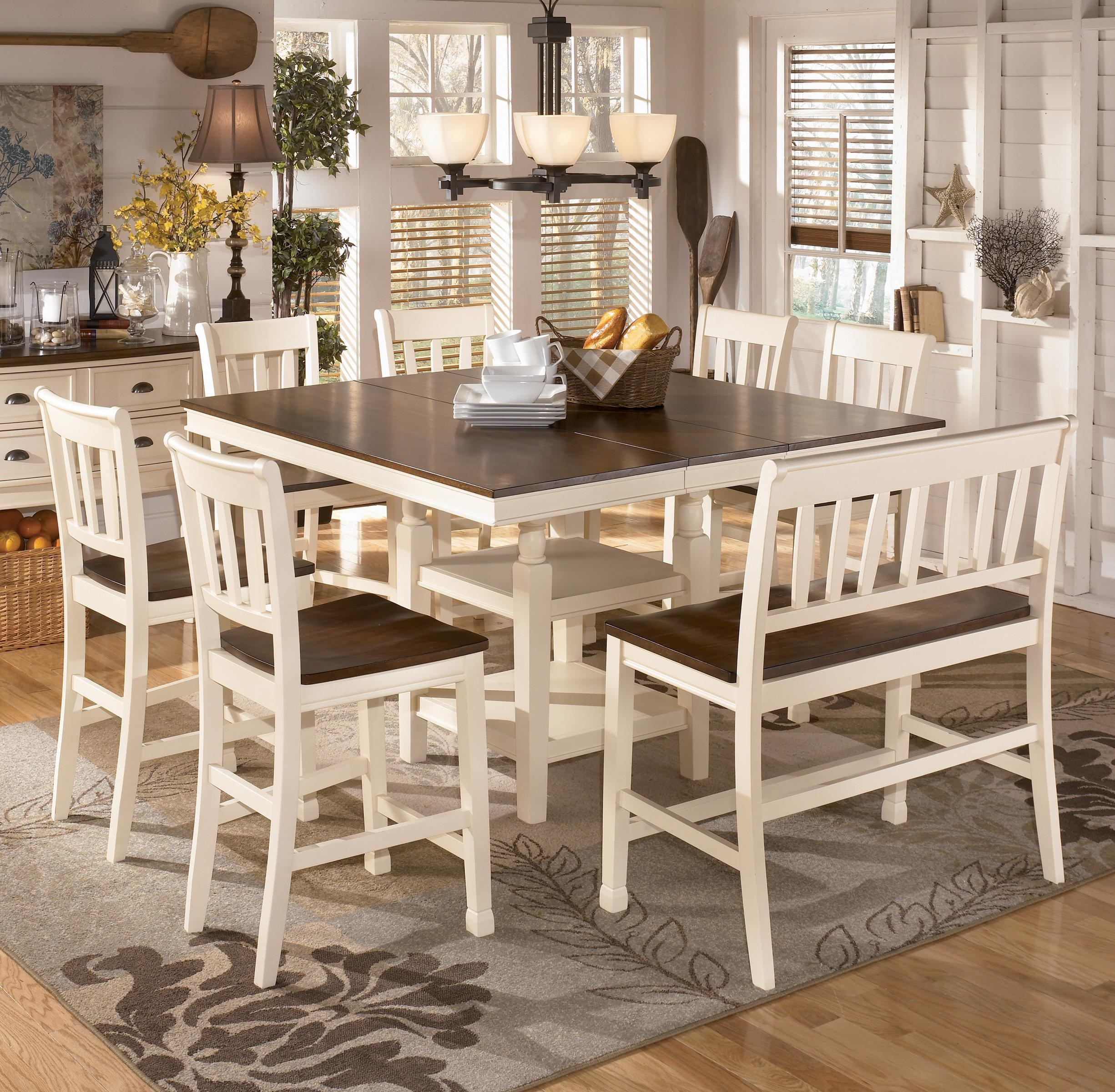 Whitesburg 8 Piece Square Counter Extension Table Set