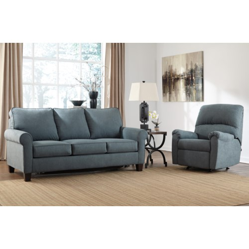 ashley zeth denim stationary living room group del sol furniture