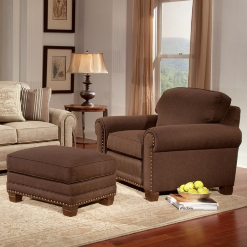 Home Living Room Furniture Chair & Ottoman Smith Brothers 393 ...
