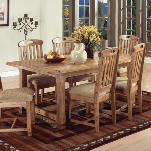 Sunny Designs Sedona Solid Oak Top Extension Table with 2 ...