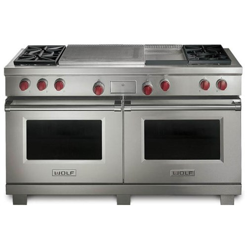Double Oven Griddle ~ Wolf quot dual fuel range with double oven burners