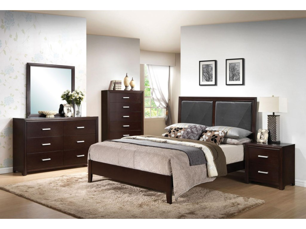 Dresser, Mirror, Chest, Queen Bed, and Night Stand Shown