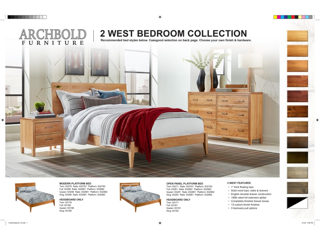 Archbold Furniture 2 WestQueen Open Panel Platform Bed