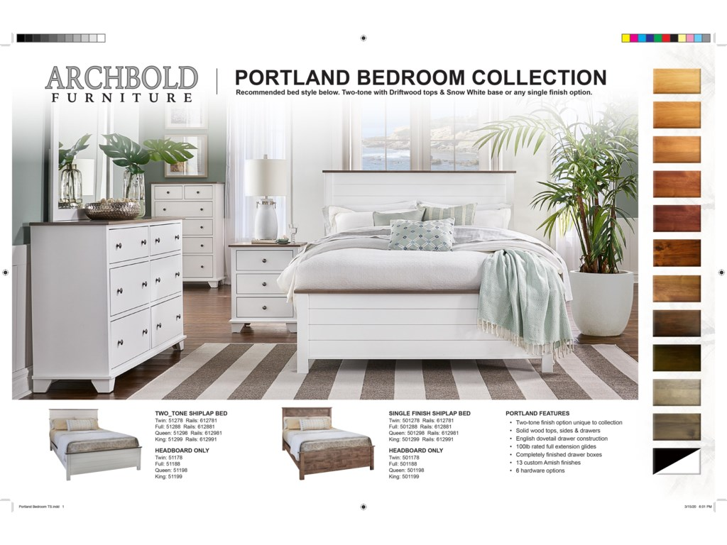 Archbold Furniture PortlandKing 2-Tone Storage Bed