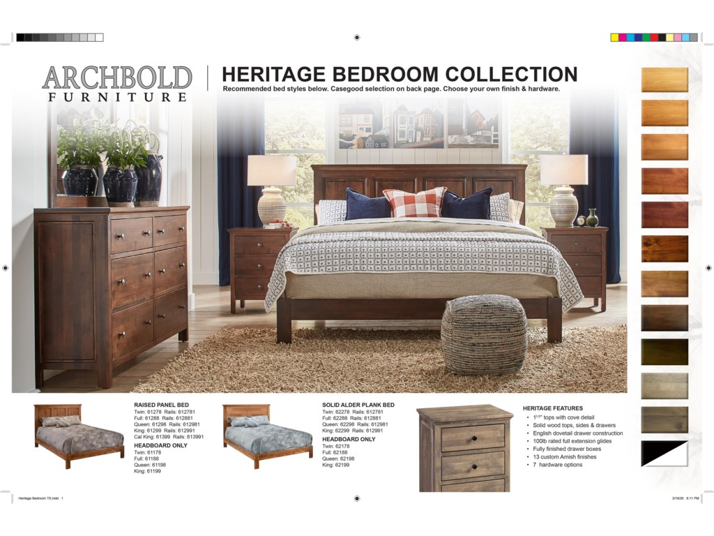 Archbold Furniture Alder HeritageTwin Raised Panel Bed