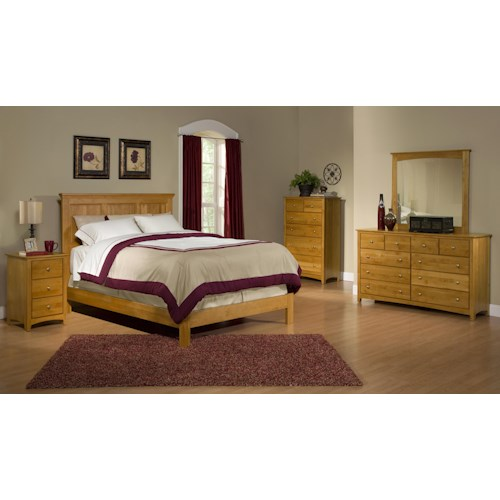 Archbold Furniture Alder Shaker Queen Bedroom Group 3