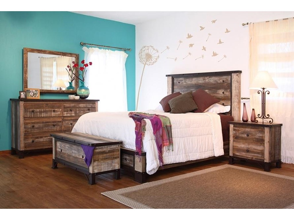 International Furniture Direct 900 AntiqueQueen Bedroom Group