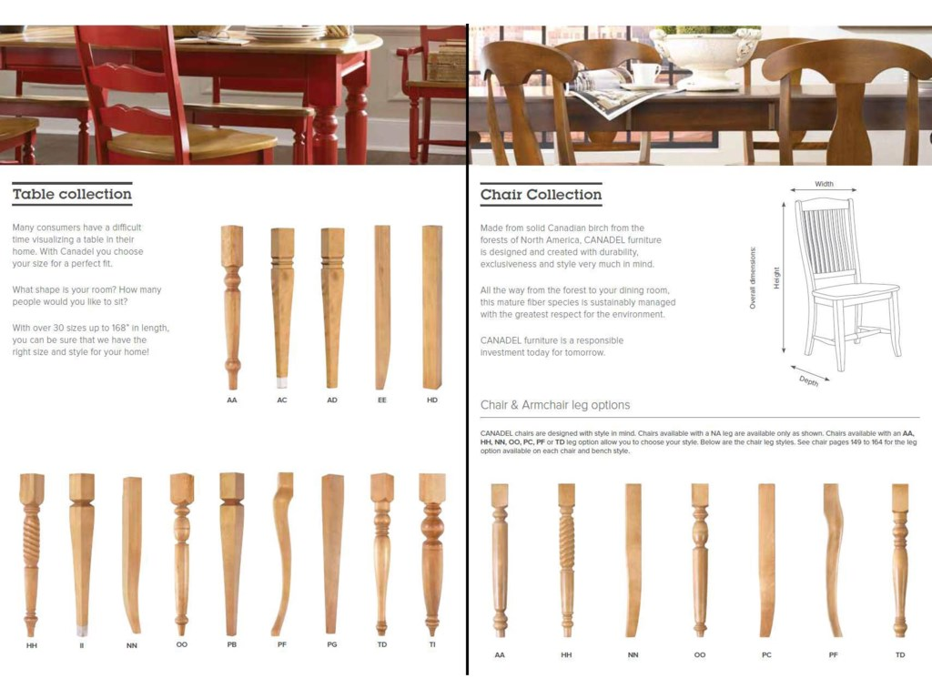 Custom Table Leg and Chair Leg Options