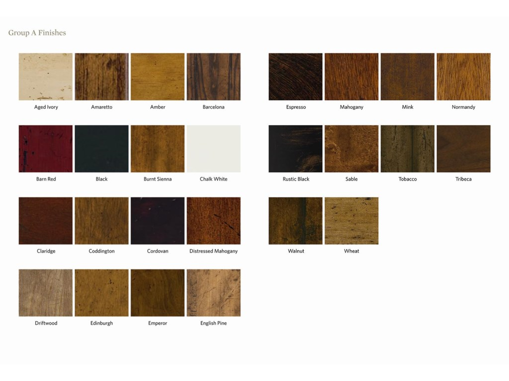 Wood Finishes Offered in Rich and Distinctive Color Choices (Painted, Antiqued and Decorative Leaf Finishes Also Available)