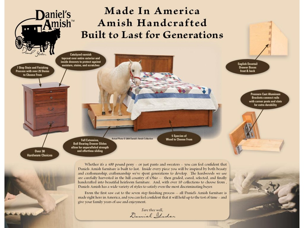 Daniel's Amish ClassicQueen Pedestal Bed W/ Storage Drawer