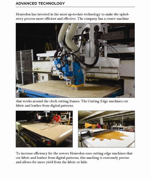 Henredon Upholstery Features the Most Up-to-Date Technology