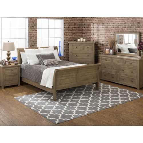 Jofran Slater Mill Pine Queen Bedroom Group