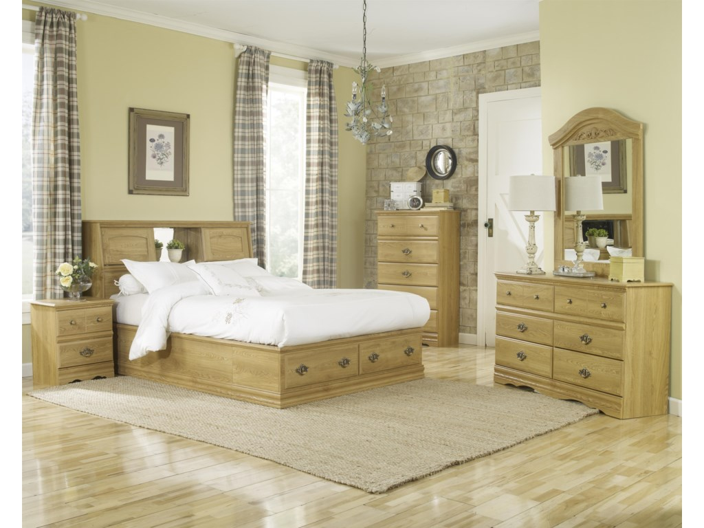 Lang Oak Creek2 Drawer Queen Bookcase Bed Bedroom Group