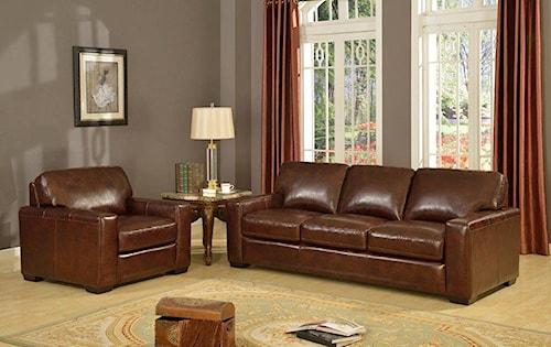 Leather Italia USA Woodburn Stationary Living Room Group