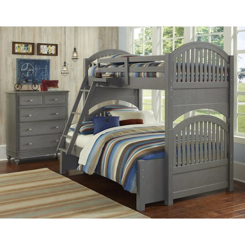 NE Kids Lake House Twin Over Full Standard Bunk Bed Group 1