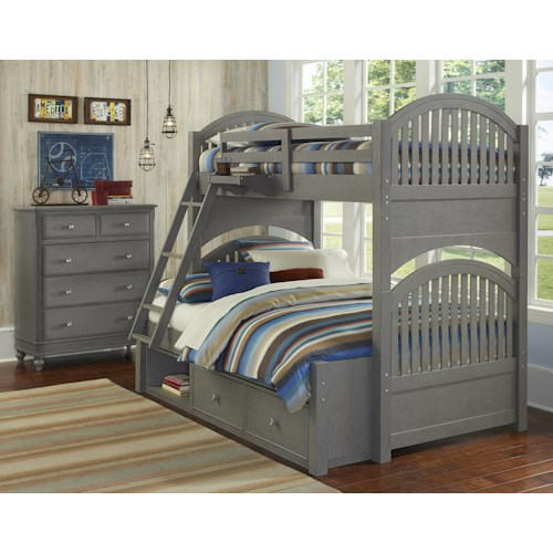 NE Kids Lake House Twin Over Full Storage Bunk Bed Group 1