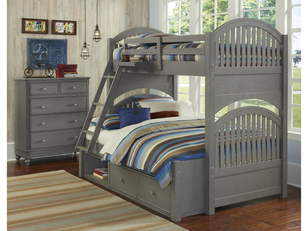 NE Kids Lake HouseTwin Over Full Storage Bunk Bed