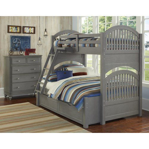 NE Kids Lake House Twin Over Full Trundle Bunk Bed Group 1