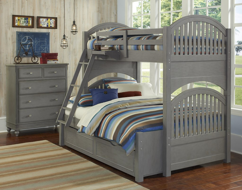 Ne Kids Lake House Twin Over Full Trundle Bunk Bed Group 1 Goffena
