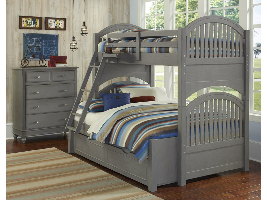 NE Kids Lake HouseTwin Over Full Trundle Bunk Bed