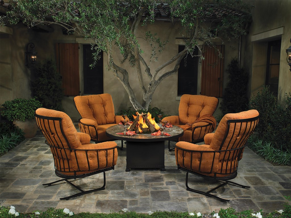 O.W. Lee Monterra 5 Pc Fire Pit and Chairs Outdoor Room Group
