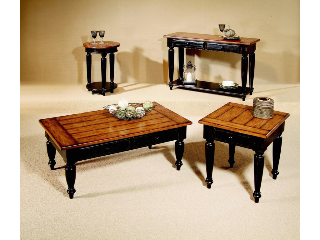 Cocktail Table, Round End Table, Sofa Table, and End Table Shown
