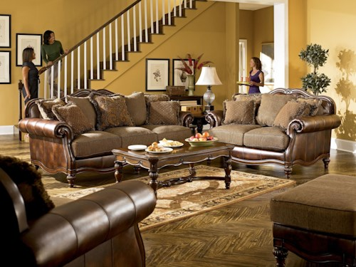 Signature Design by Ashley Claremore - Antique Stationary Living Room Group