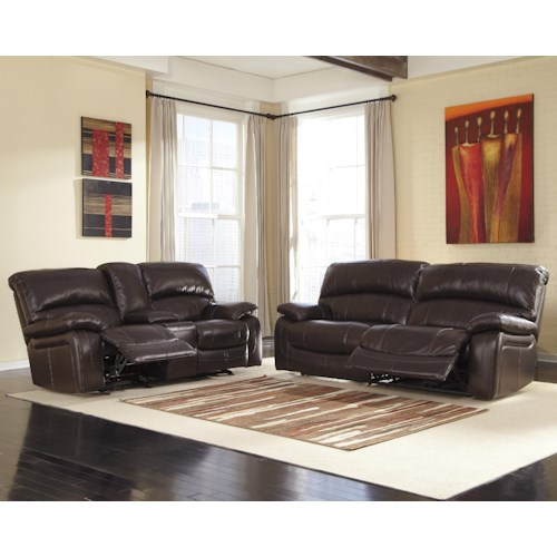 Signature Design by Ashley Damacio - Dark Brown Reclining Living Room Group