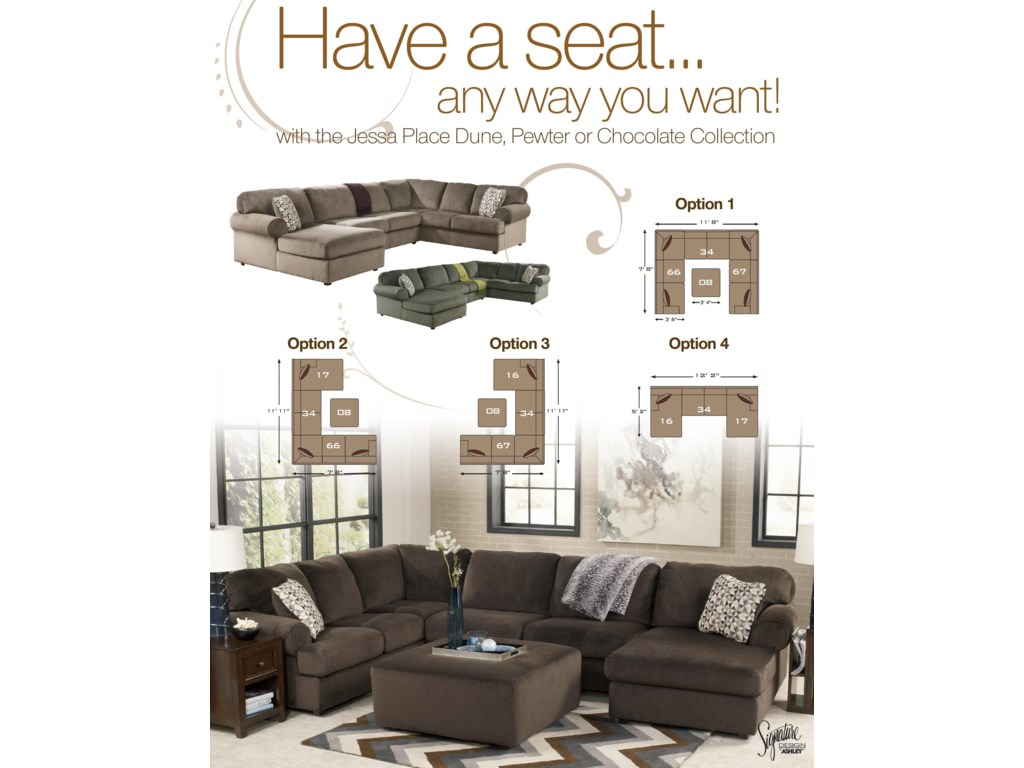 Signature Jessa Place - DuneSectional Sofa with Left Chaise