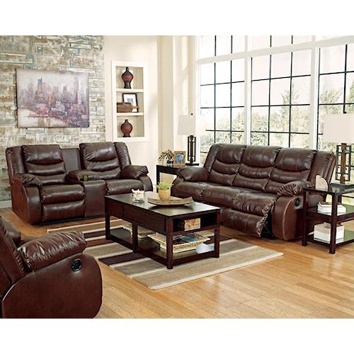Benchcraft Linebacker DuraBlend - Espresso Reclining Living Room Group