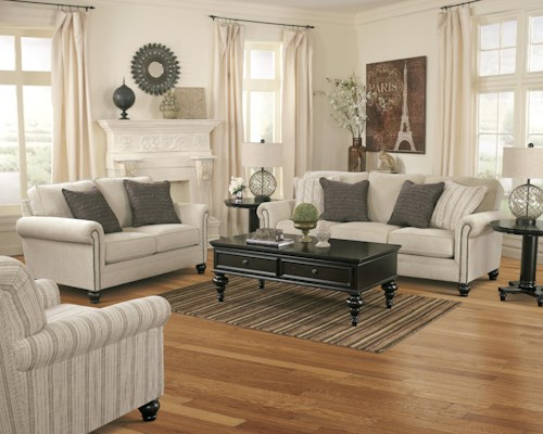 Signature Design by Ashley Milari - Linen Stationary Living Room Group