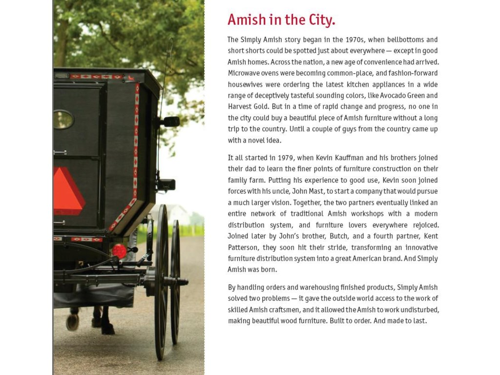 The Simply Amish Story - Bringing Together a Network of Skilled Amish Craftsmen