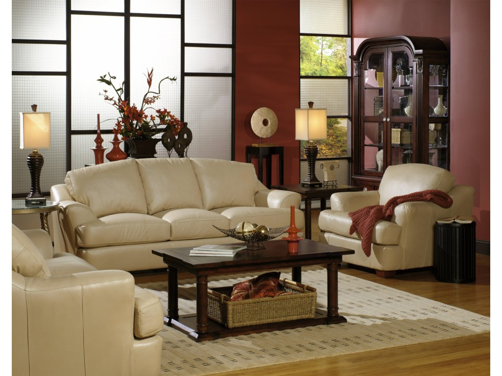 USA Premium Leather 3455Stationary Living Room Group
