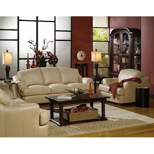USA Premium Leather 3455 Stationary Living Room Group