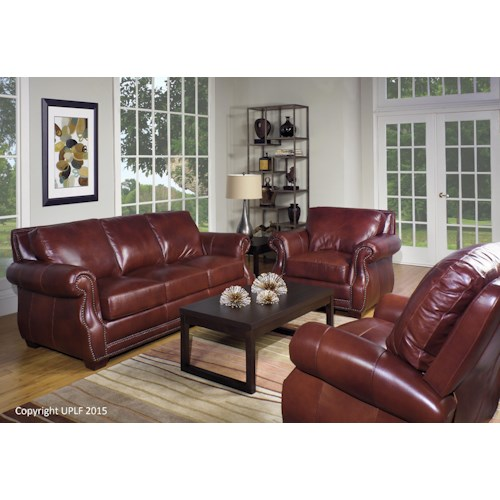 USA Premium Leather 5751 Traditional Leather Stationary Living Room Group