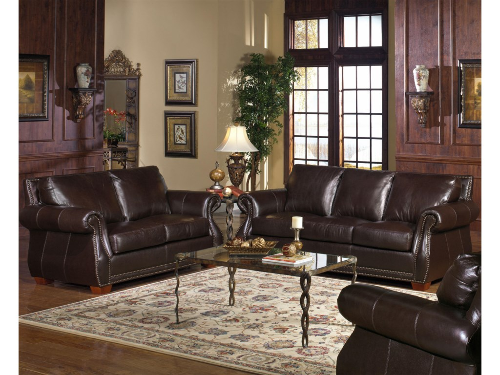 USA Premium Leather 5750Stationary Living Room Group