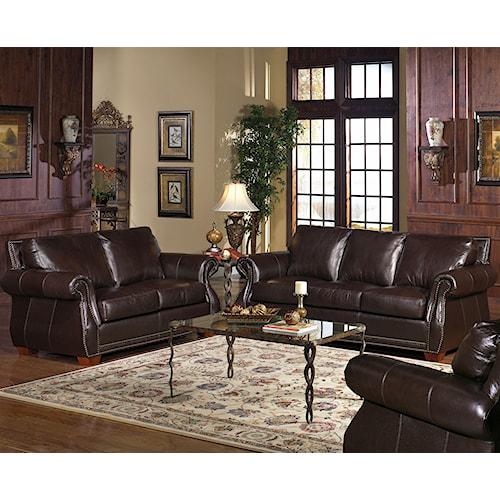 USA Premium Leather 5750 Stationary Living Room Group