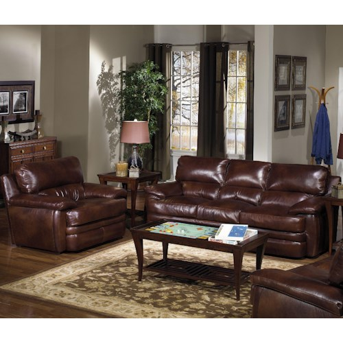USA Premium Leather 5855 Stationary Living Room Group