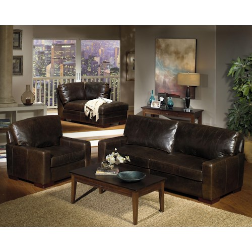 USA Premium Leather 5925 Stationary Living Room Group